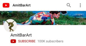 YouTube channel AmitBarArt 100,000 subscribers