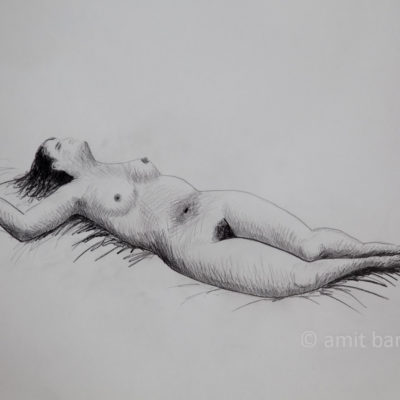 A nude model lying on her back with right arm above her head
