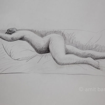 A nude model lying on her stomach