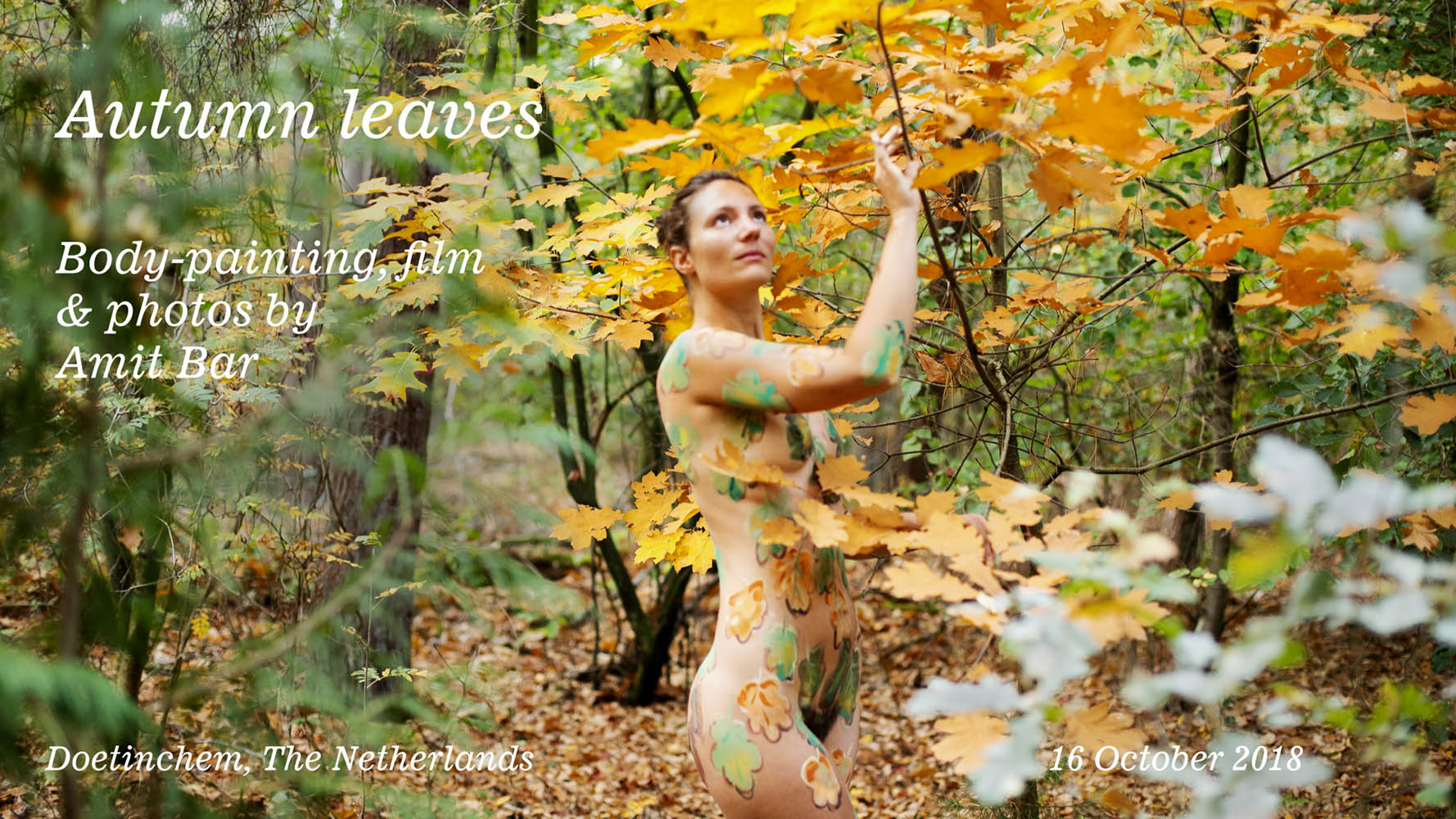 Body painted autumn leaves video title