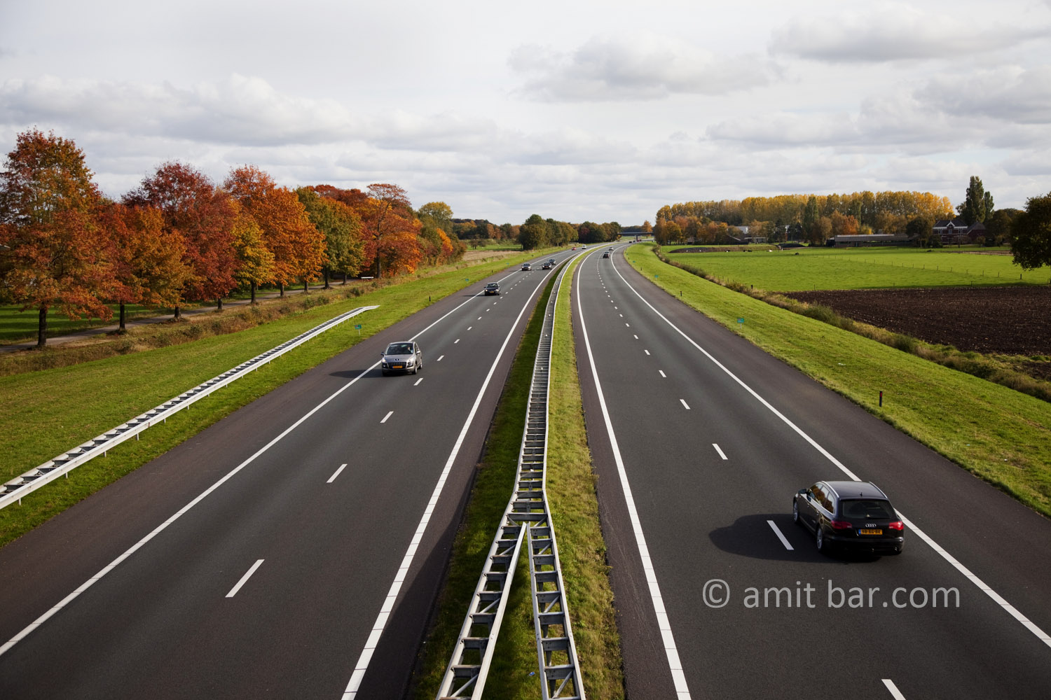 Autumn trees VII: Autumn on highway A18 in De Achterhoek, The Netherlands