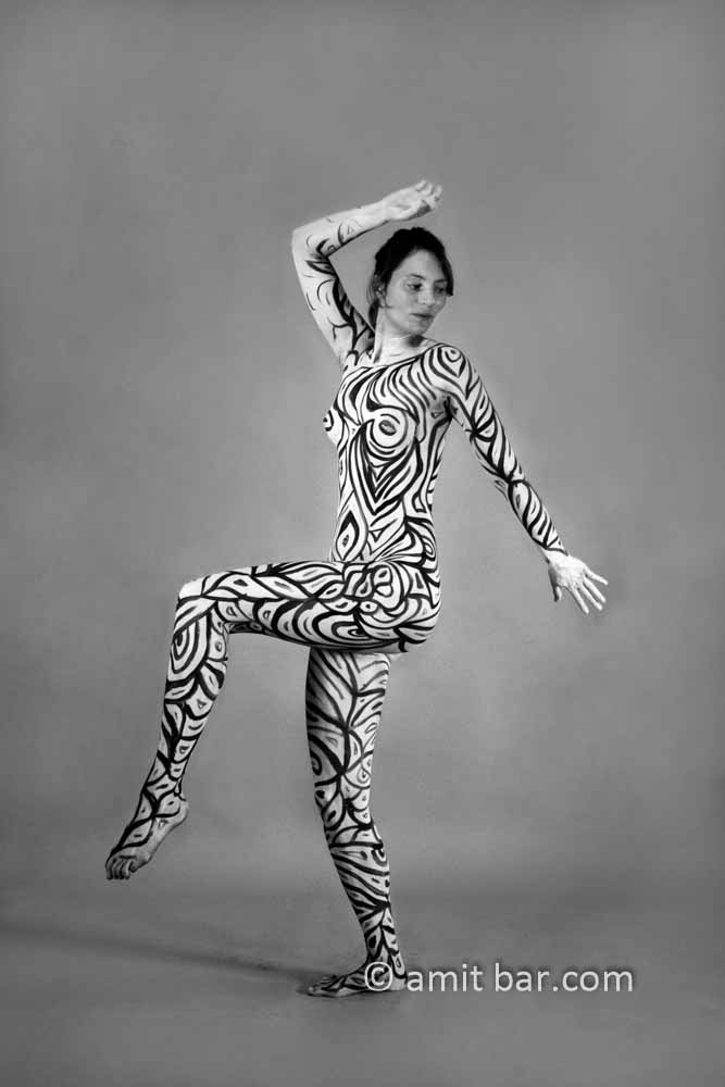 Black and white I: Black and white body-painted model