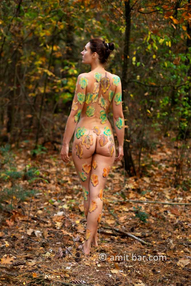 Body painted autumn leaves I: Autumn leaves painted on a model in the forest beside Doetinchem, The Netherlands