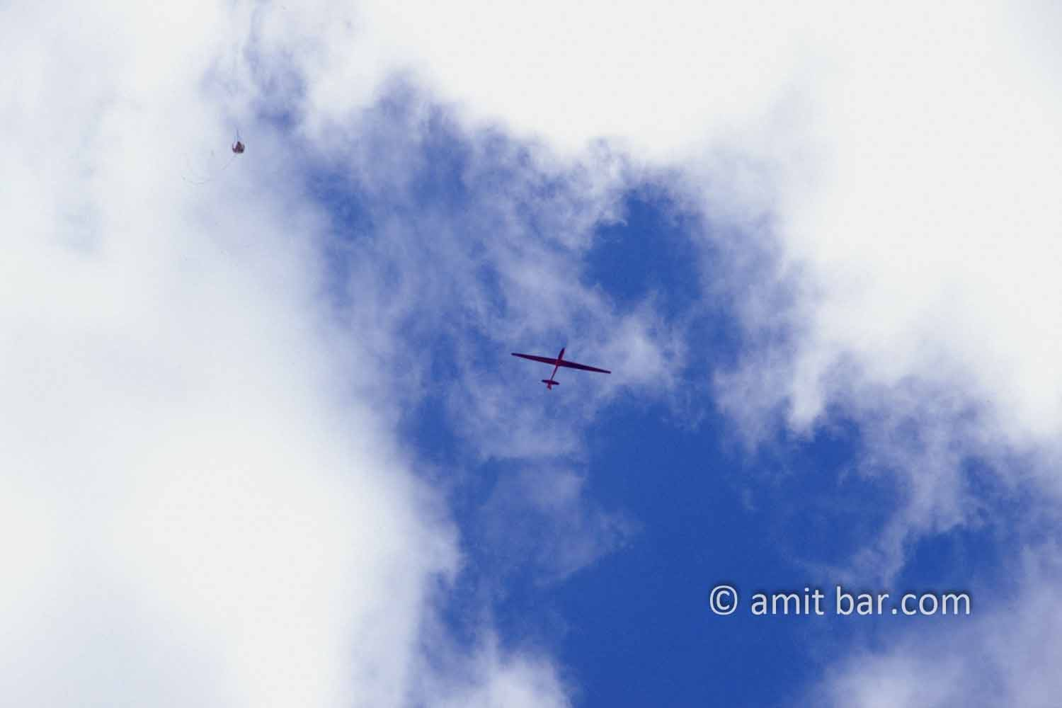 Clouds IV: White clouds and a glider