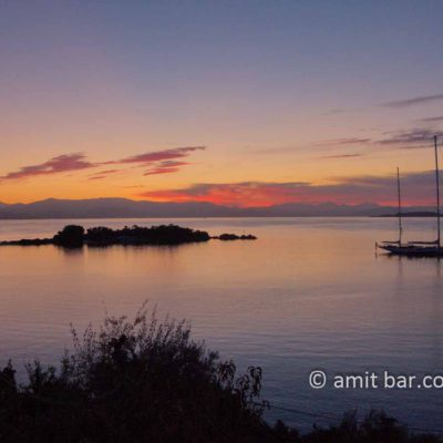 Corfu: Sunrise above Greece