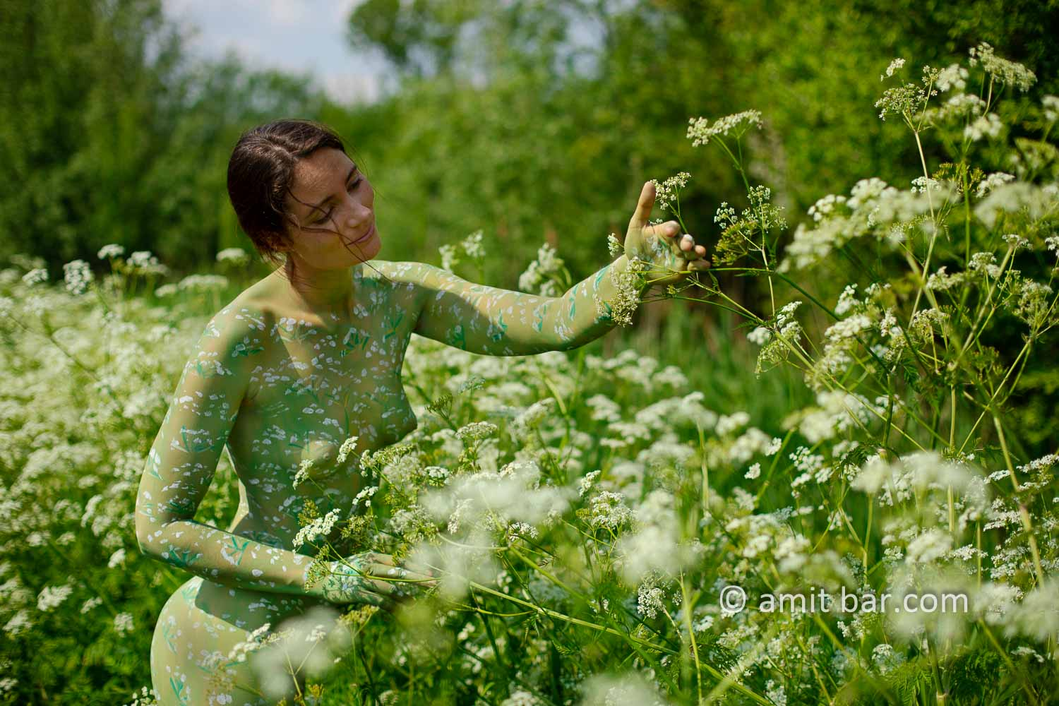 Cow parsley III: The wild plant Cow parsley inspired me to crate a body-painting on a sunny day besides my hometown.