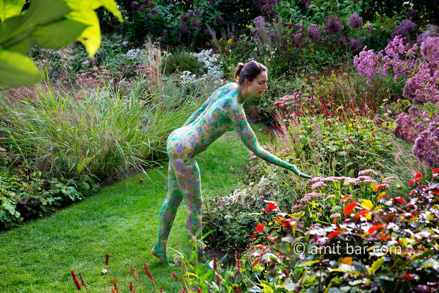 Garden flowers II: A body painted model is walking on a cloudy afternoon among the flowers of a beautiful garden in De Achterhoek, The Netherlands.