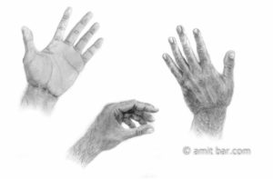 Hands: My left hand three times. Pencils