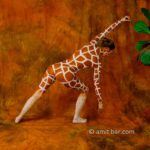 Hungry giraffe: Body-painted model in giraffe suit