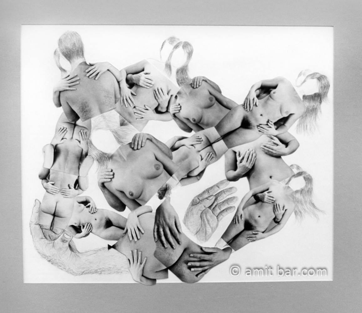 Lovers hands: Photo-collage of lovers pair with pencil addition