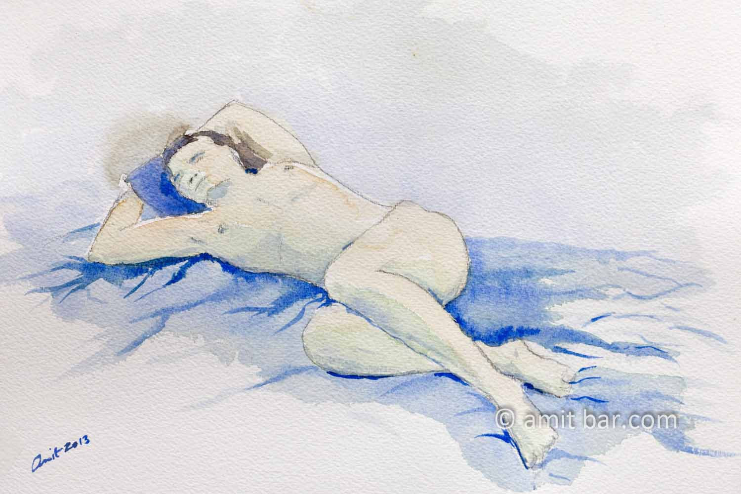 Lying model with hands behind her head: Aquarel drawing