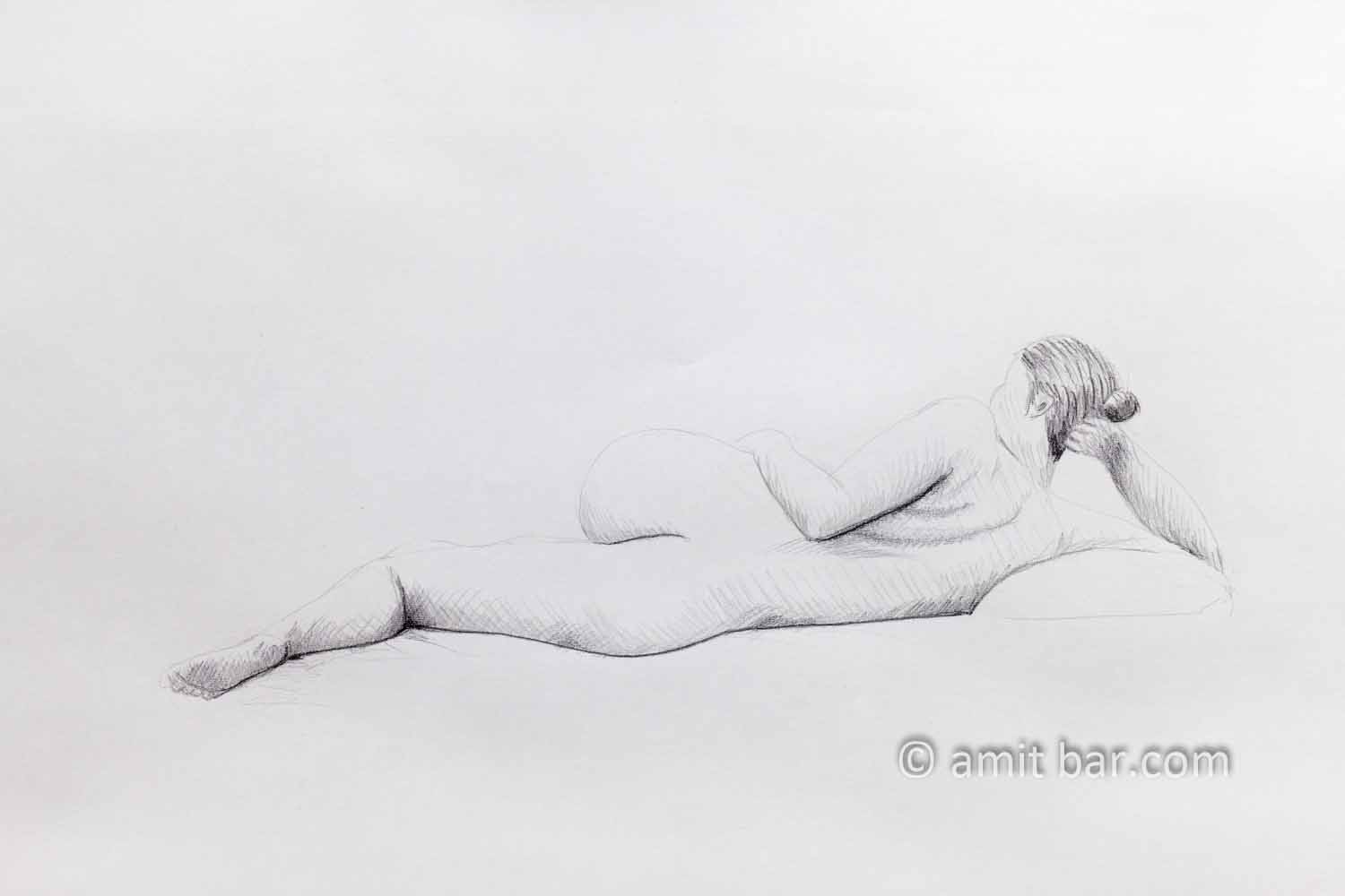 Lying nude model from the back. Pencil drawing
