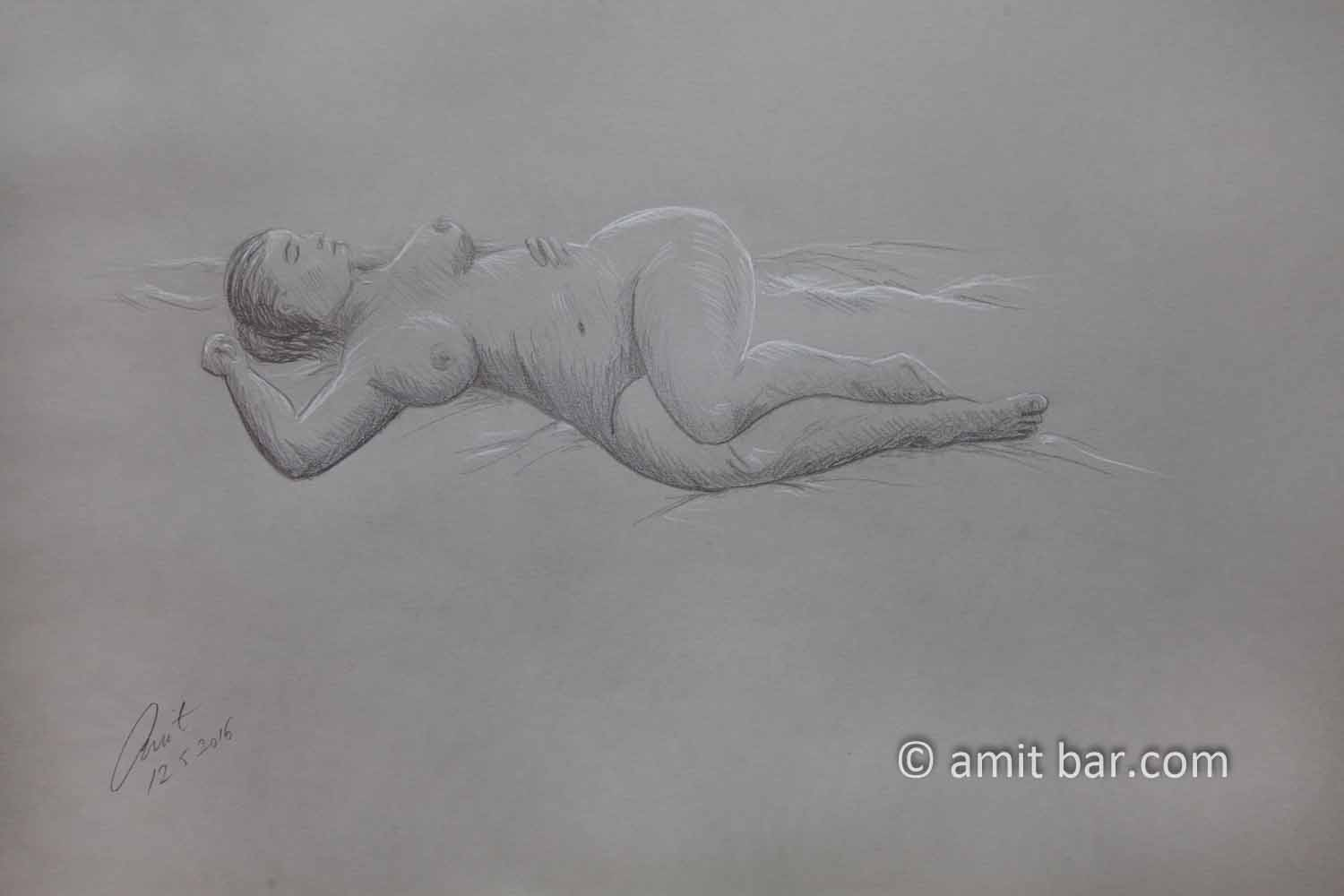 Lying nude with hand on side. Pencil drawing
