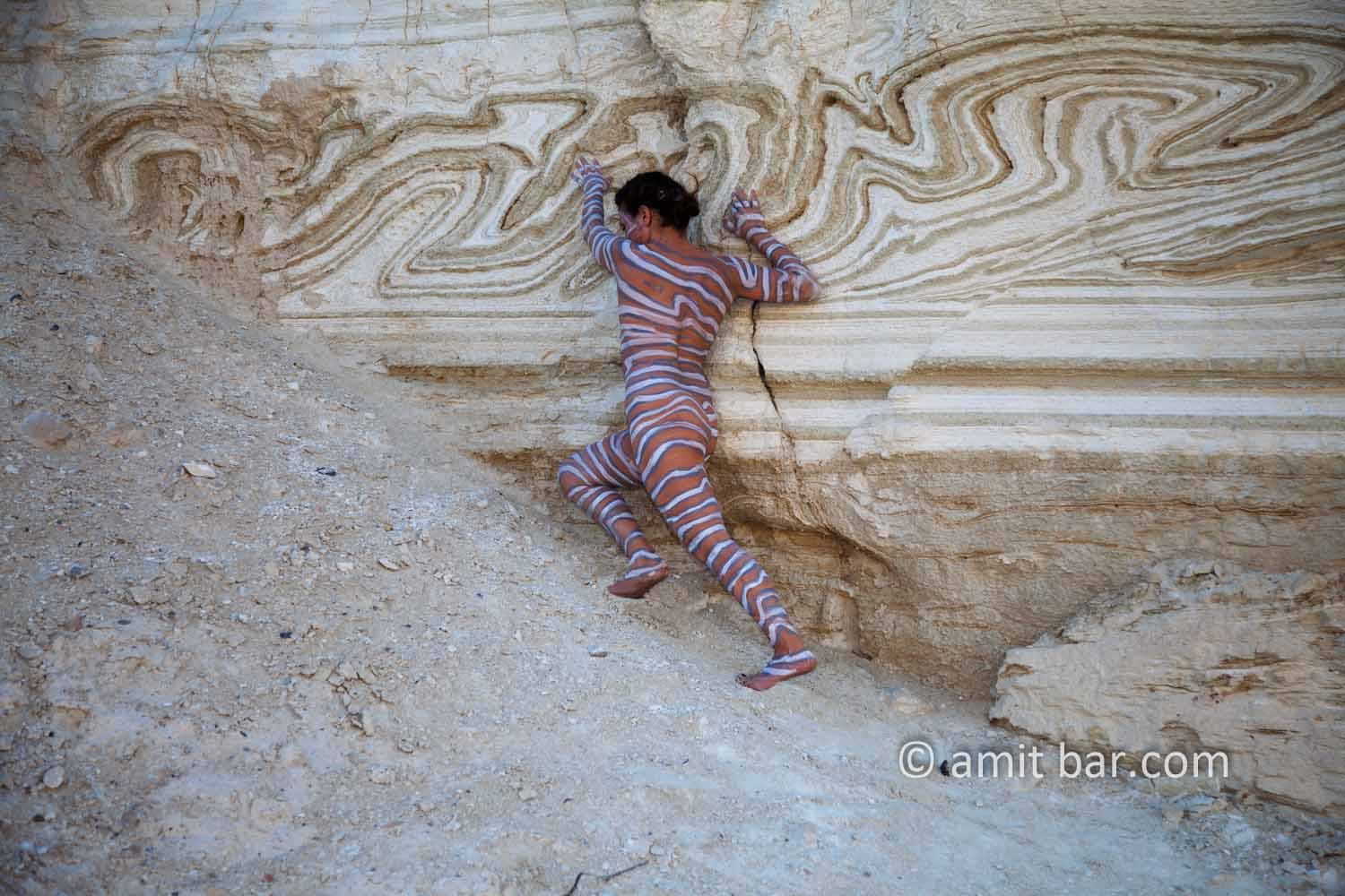 Nachal Prazim I: Body painted model at the desert of the Dead Sea, Israel.