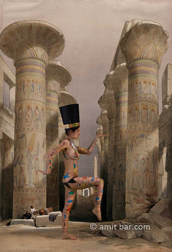 Nefertiti I:Body-painted model at the temple of Karnac, Thebes, Egypt
