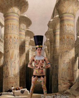 Ancient Nefertiti and modern landscapes