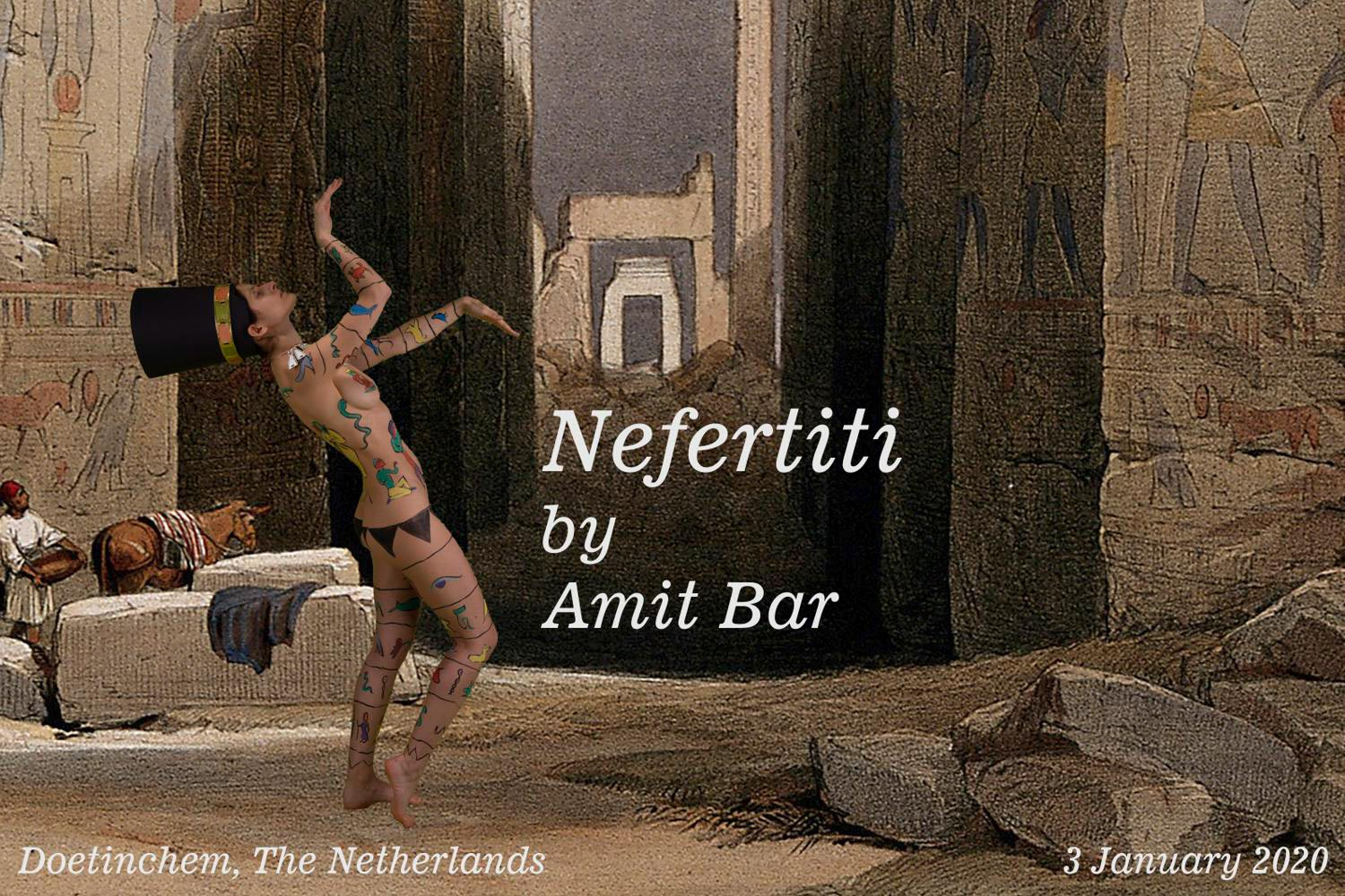 Nefertiti video: Body-painted model at the temple of Karnac, Thebes, Egypt