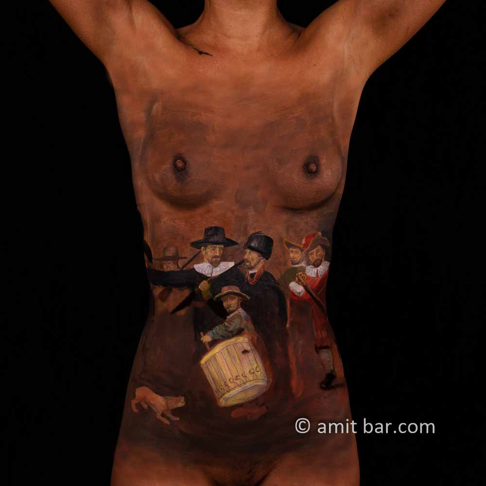 Night Watch II: Body-painted model in homage to Rembrandt