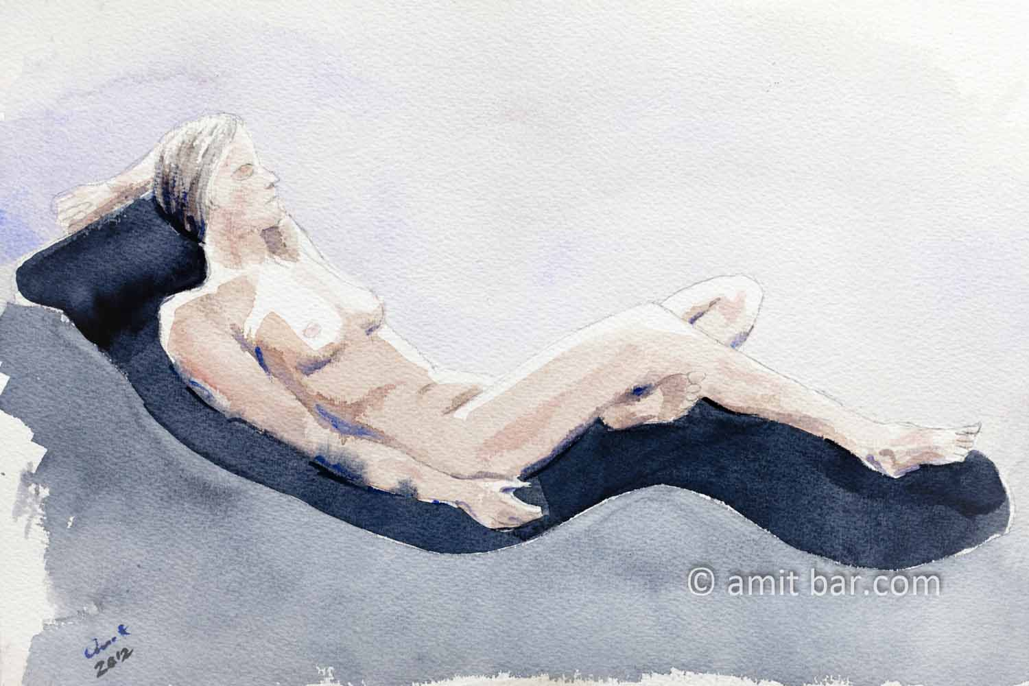 Nude model lying on a relaxing chair. Aquarel