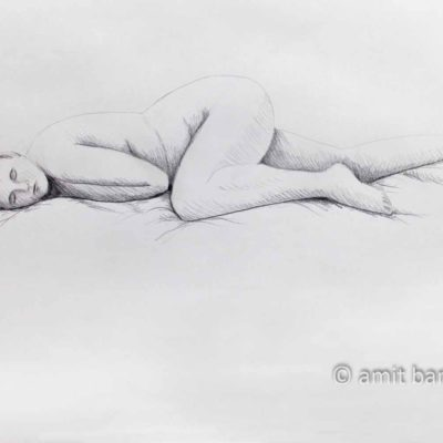 Nude model lying with left leg at her knee