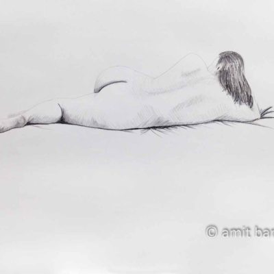 Nude model lying with left leg in front of her