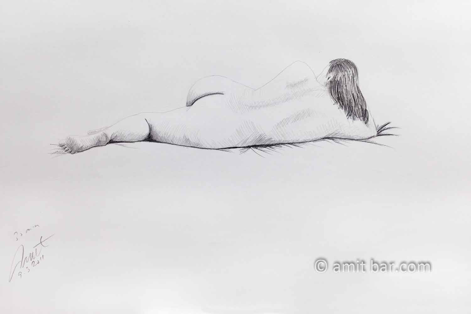 Nude model lying with left leg in front of her. Pencil drawing