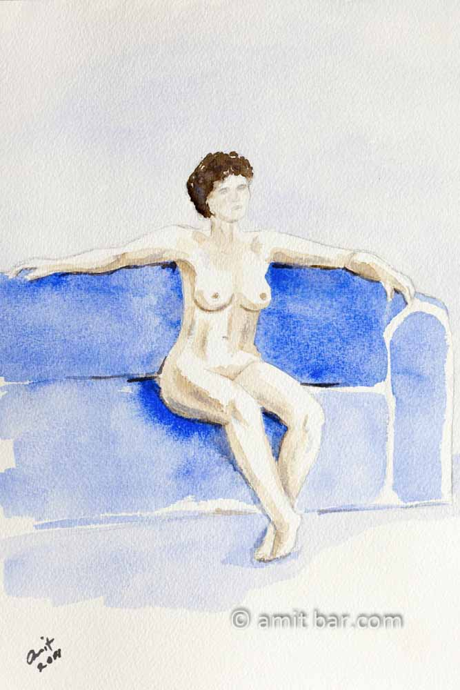 Nude model sitting on a sofa with arms aside. Aquarel