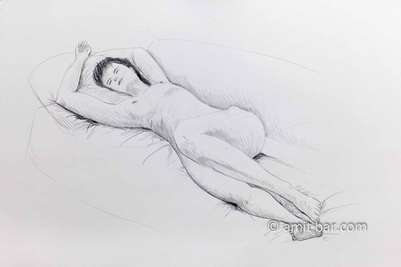 Nude model sleeping on a sofa. Pencil drawing
