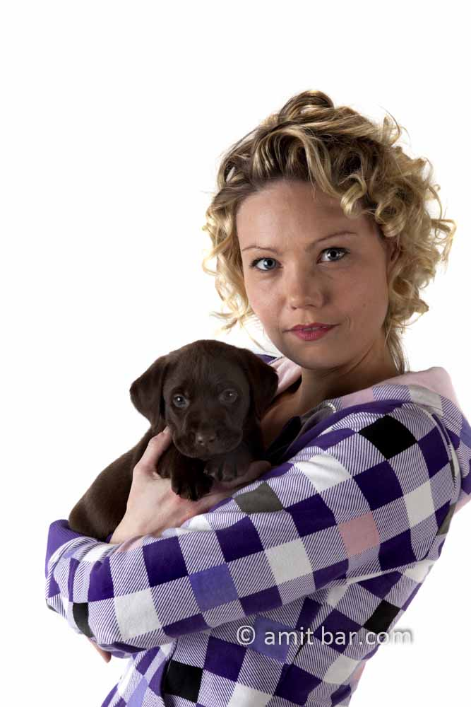 Puppy: Model with her puppy