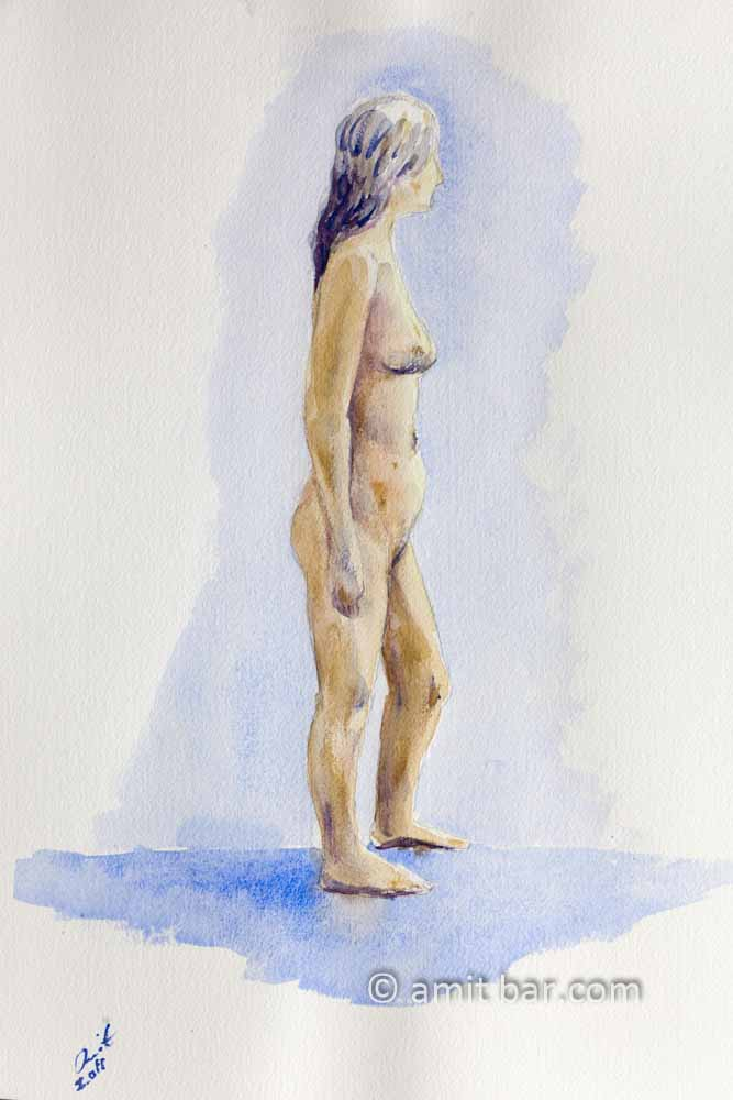Standing nude looking left. Aquarel