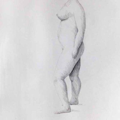 Standing nude model seen from left