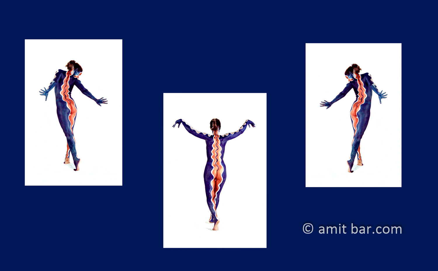 Three birds: Collage of three photos of body-painted dancer