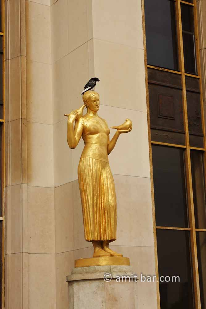 Three pigeons: A pigeon sits on golden sculpture with two pigeons